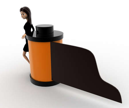 right side: 3d woman with camera film reel concept on white background, right side angle view