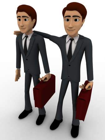 business partner: 3d man with business partner concept on white background, le side angle view
