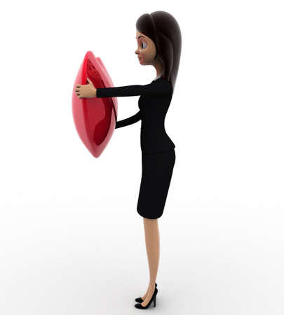 right side: 3d woman holding big red heart concept on white background, right side angle view