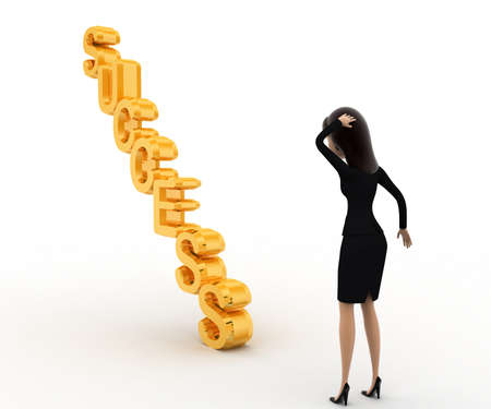right side: 3d woman confused on succuss stair concept on white background, right side angle view