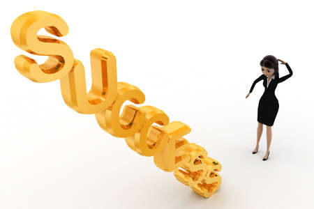 woman side view: 3d woman confused on succuss stair concept on white background, left side angle view Stock Photo