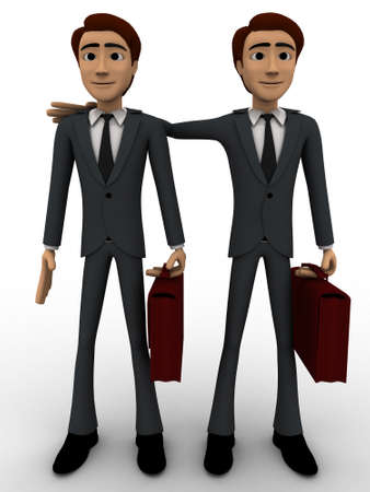 business partner: 3d man with business partner concept on white background,  front angle view