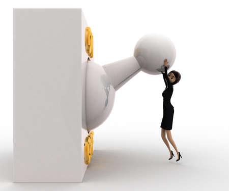palanca: Mujer 3D con grande en off concepto interruptor de palanca en el fondo blanco, vista de �ngulo lateral izquierdo Foto de archivo