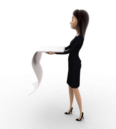 woman side view: 3d woman with long list of paper concept on white background, right side angle view