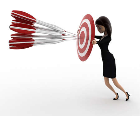 woman side view: 3d woman aim all arrow at center of target board concept on white background, right side angle view