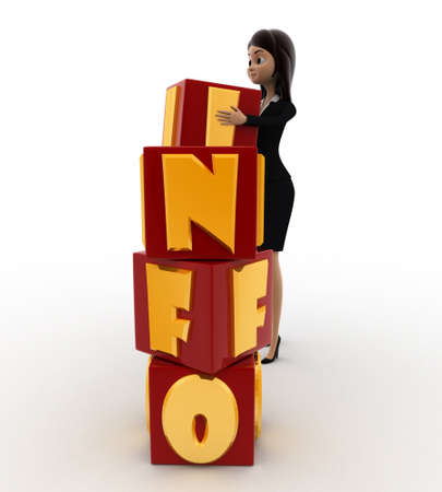 put: 3d woman put info cubes concept on white background, right side angle view