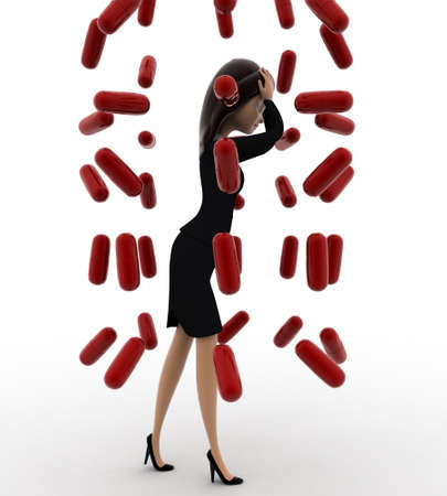 under view: 3d woman under rain of red germs concept on white background, left side angle view