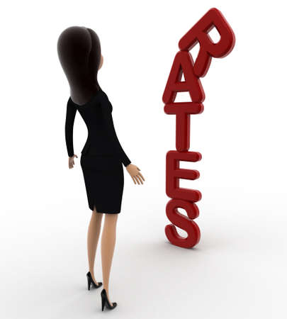 rates: 3d woman looking at vertical red rates text concept on white background, front angle view