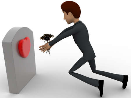 grave stone: 3d man putting flower on grave stone of his love concept on white background, side angle view