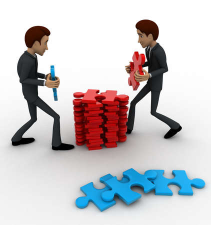 arrange: 3d man arrange puzzle piece with team work concept on white background, side  angle view