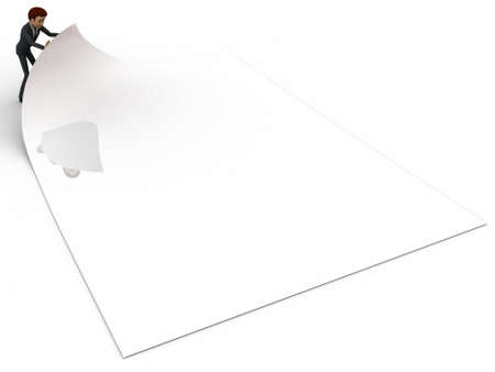 paper folding: 3d man folding paper concept on white background, front angle view