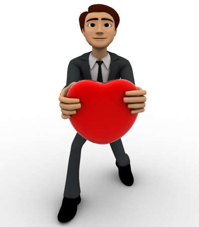 offering: 3d man offering heart on knee concept on white background, front angle view