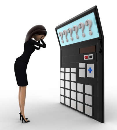 tension: 3d woman in tension while looking at question mark on calculator lcd concept on white background, side angle view