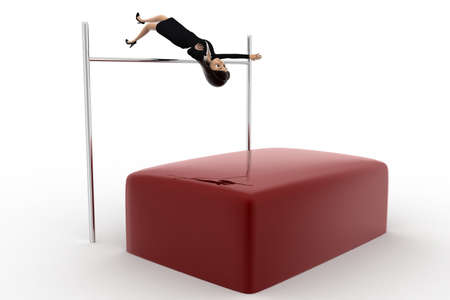 high jump: 3d woman doing high jump practise concept on white background, side angle view Stock Photo