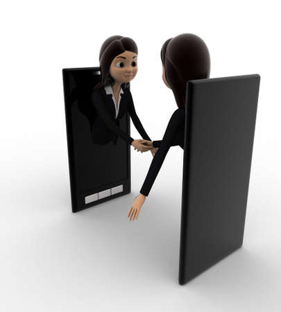 meet: 3d woman meet and ahndshake through smartphone screen concept on white background, side angle view