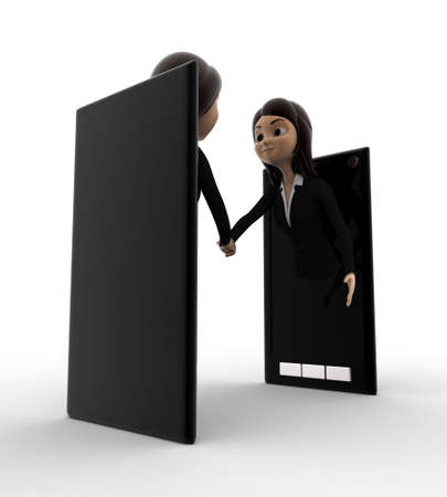 meet: 3d woman meet through smartphone screen concept on white background, low angle view Stock Photo