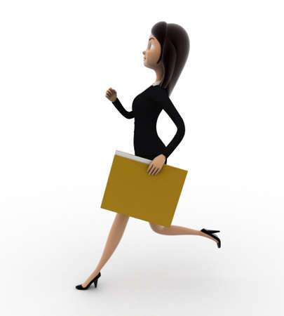 woman side view: 3d woman running with work file folder concept on white background,  side angle view