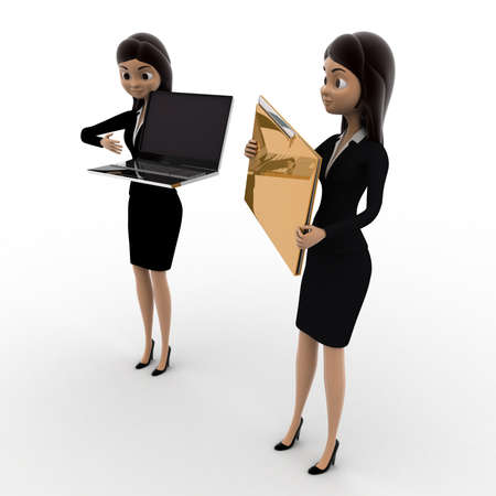 woman laptop: 3d woman pointin at laptop and holding file concept on white background, side angle view