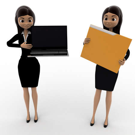 woman laptop: 3d woman pointin at laptop and holding file concept on white background,  front angle view Stock Photo