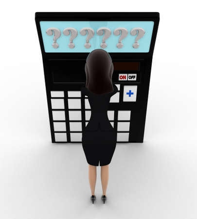 tension: 3d woman in tension while looking at question mark on calculator lcd concept on white background, front angle view