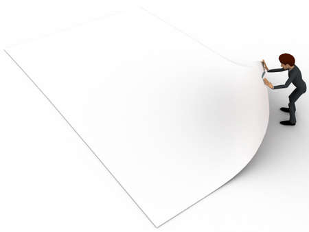 man side view: 3d man folding paper concept on white background, side angle view