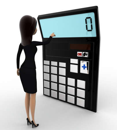 calculate: 3d woman with calculator to calculate accounts concept on white background, side angle view Stock Photo