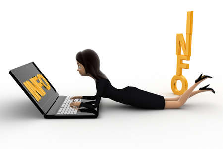 info text: 3d woman working on latpoop and with info text concept on white background,  side angle view