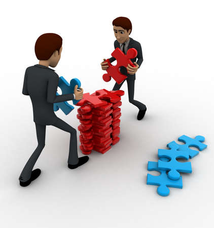work piece: 3d man arrange puzzle piece with team work concept on white background, side angle view Stock Photo