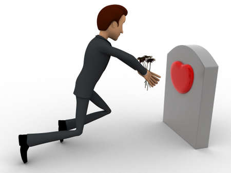 grave stone: 3d man putting flower on grave stone of his love concept on white background,side angle view