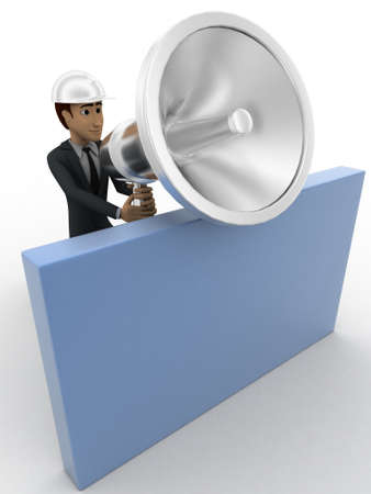 big behind: 3d man with big silver speaker and hide behind wall concept on white background, side angle view
