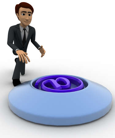 backgorund: 3d man press button with email icon concept on white backgorund, left side angle view Stock Photo