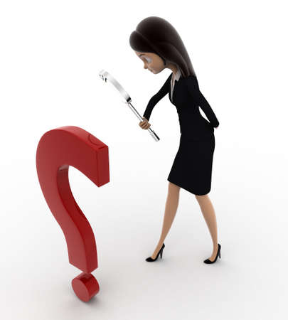 examine: 3d woman examine question mark using magnifying glass concept on white background, top angle view Stock Photo