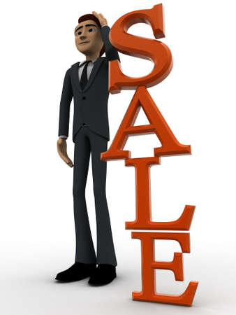 backgorund: 3d man tjinking near vertical sale text concept on white backgorund, side angle view