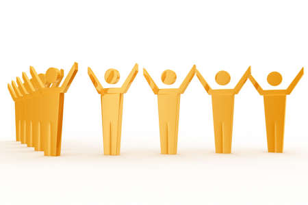 men standing: 3d group of men standing in arrow and hands up concept on white backgorund, front angle view Stock Photo