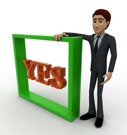 backgorund: 3d man with yes text and square box concept on white backgorund, side angle view
