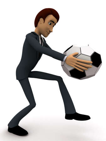 ot: 3d man about ot kick ball of soccer concept on white background, side angle view