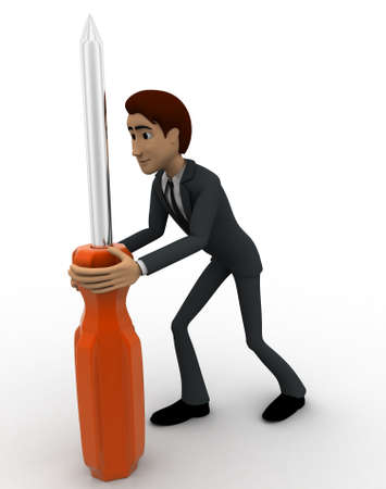 backgorund: 3d man holding big screw driver concept on white backgorund, sideangle view Stock Photo