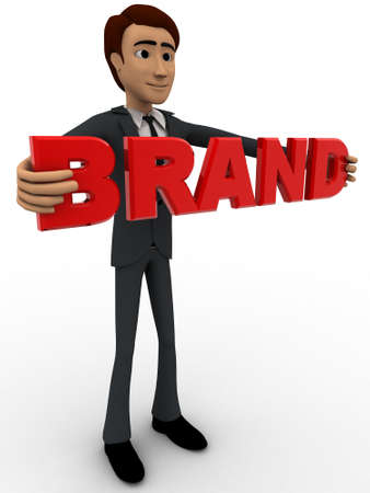 backgorund: 3d man holding brand text concept on white backgorund, left side angle view