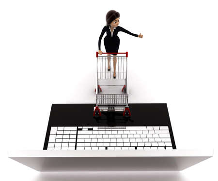 woman shopping cart: 3d woman going for online shopping through laptop with cart concept on white background, top angle view