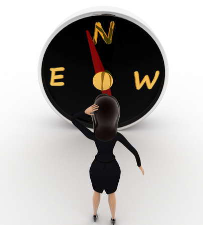 looking at view: 3d woman looks worried while looking direction on compass concept on white background, front angle view
