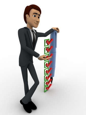 backgorund: 3d man with pen and check list concept on white backgorund, side angle view Stock Photo