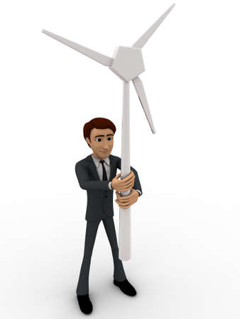 backgorund: 3d man holding small windmill in hand concept on white backgorund, front angle view