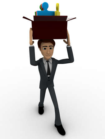 backgorund: 3d man holding box of puzzle pieces on head concept on white backgorund, front angle view