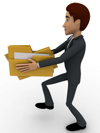 backgorund: 3d man holding file folders in hand concept on white backgorund, side angle view