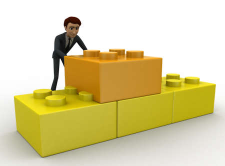 backgorund: 3d man making structure using toys concept on white backgorund, front angle view Stock Photo