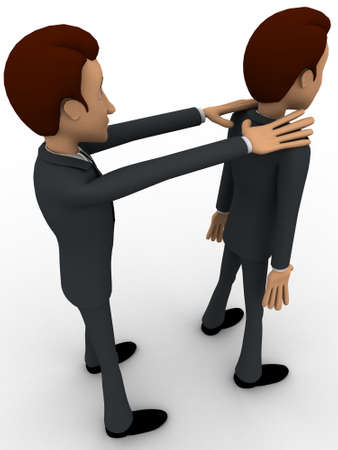 backgorund: 3d man puting hands another mans shoulder from back concept on white backgorund, side angle view