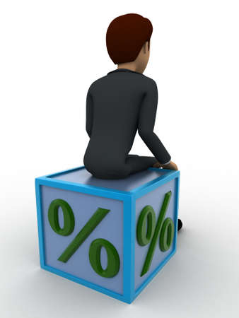 backgorund: 3d man sitting on percentage cube concept on white backgorund, back angle view