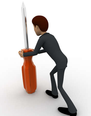 backgorund: 3d man holding big screw driver concept on white backgorund,  back angle view Stock Photo