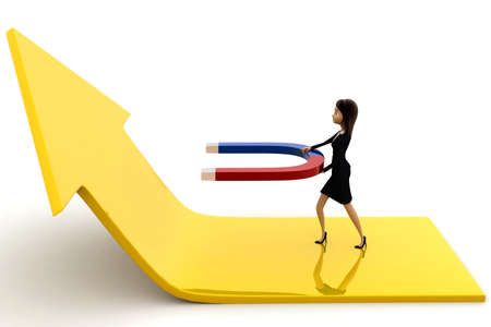 attract: 3d woman attract arrow up side using magnet concept on white background, side angle view Stock Photo