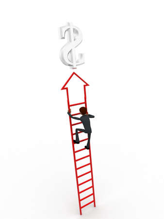 up stair: 3d man climb arrow stair up towrds silver dollar sign concept on white background, back angle view